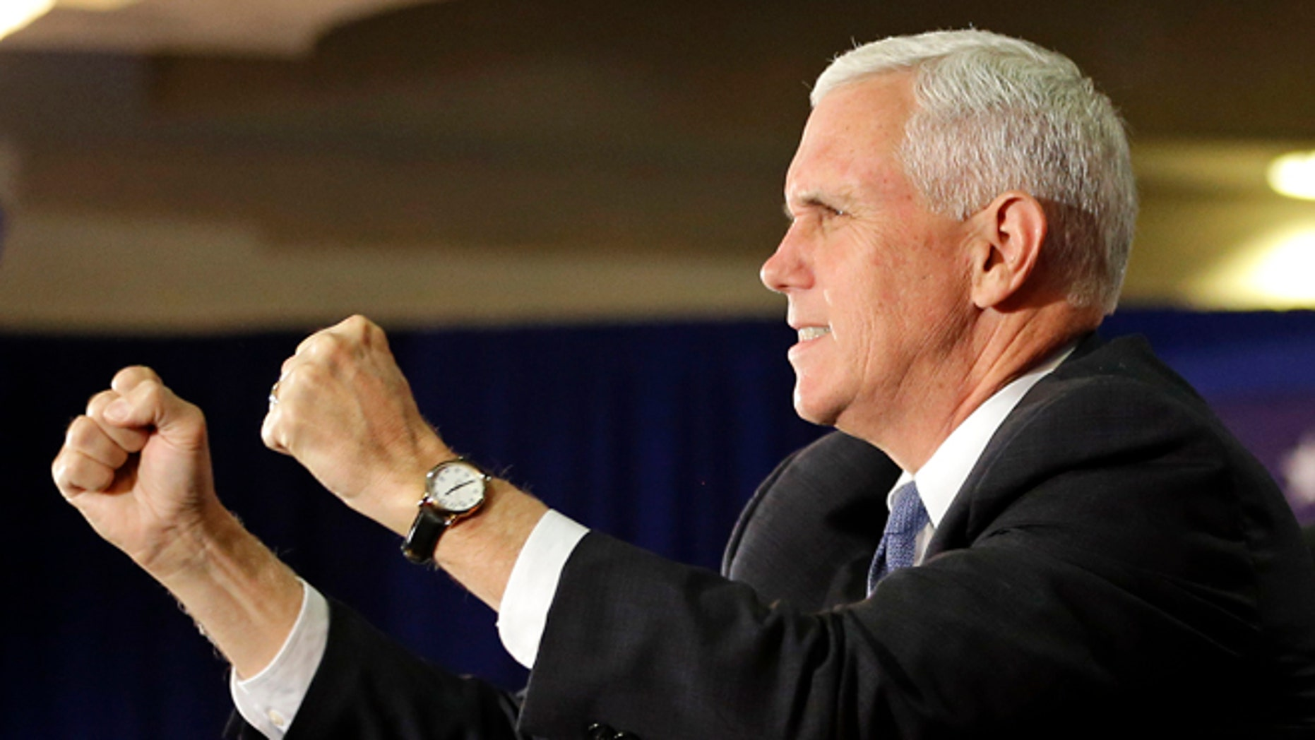 Republican VP candidate, Indiana Gov. Mike Pence on Oct. 31, 2016, in Cocoa, Fla.