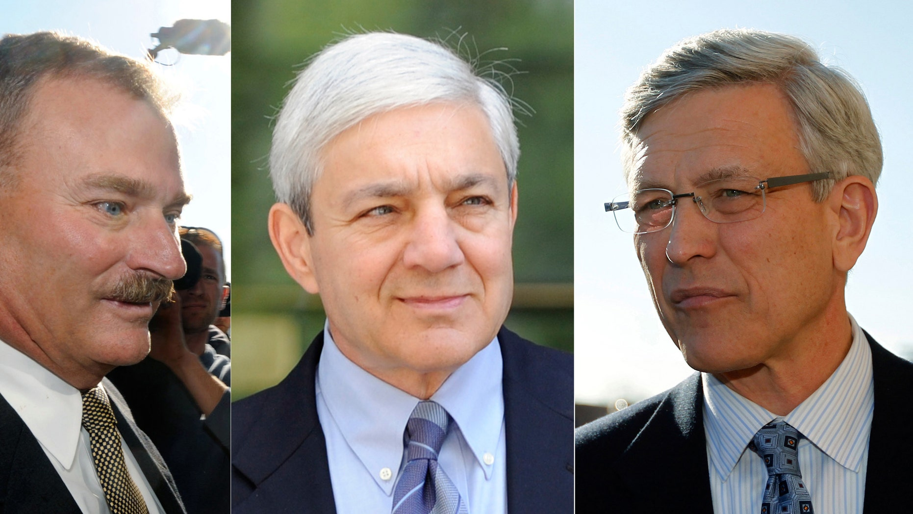 In these Nov. 7, 2011, file photo combination, former Penn State vice president Gary Schultz, left, and former Penn State director of athletics Tim Curley, right, and on July 29, 2013, former Penn State president Graham Spanier, center, are seen in Harrisburg, Pa.