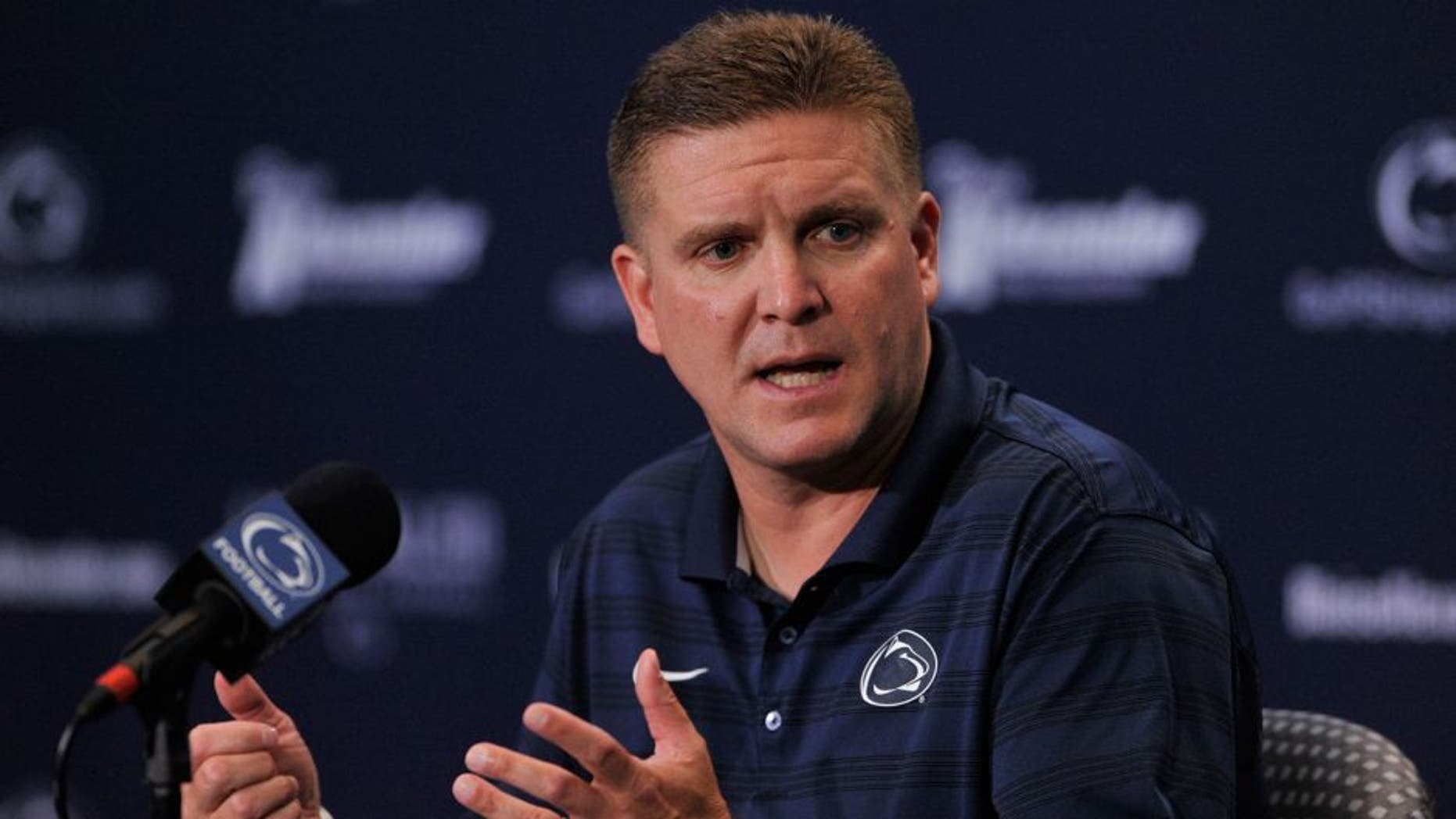Penn State defensive coordinator Bob Shoop talks to reporters during media day at Beaver Stadium in University Park, Pa., on Thursday, Aug. 6, 2015. (Nabil K. Mark/Centre Daily Times/TNS via Getty Images)
