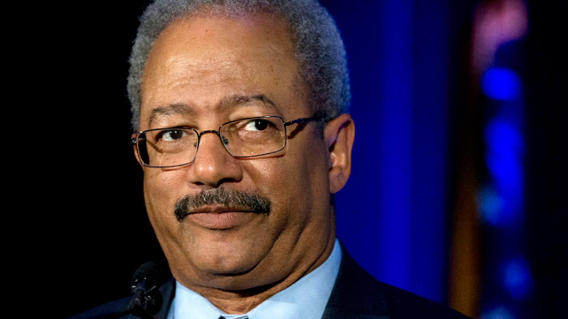 In this May 7, 2015 photo, Rep. Chaka Fattah, D-Pa., speaks during a My Brother's Keeper town hall at the School of the Future in Philadelphia. Fattah, an 11-term Democrat from Philadelphia, was indicted Wednesday, July 29, 2015, on charges that he misappropriated hundreds of thousands of dollars of federal, charitable and campaign funds. (AP Photo/Matt Rourke)