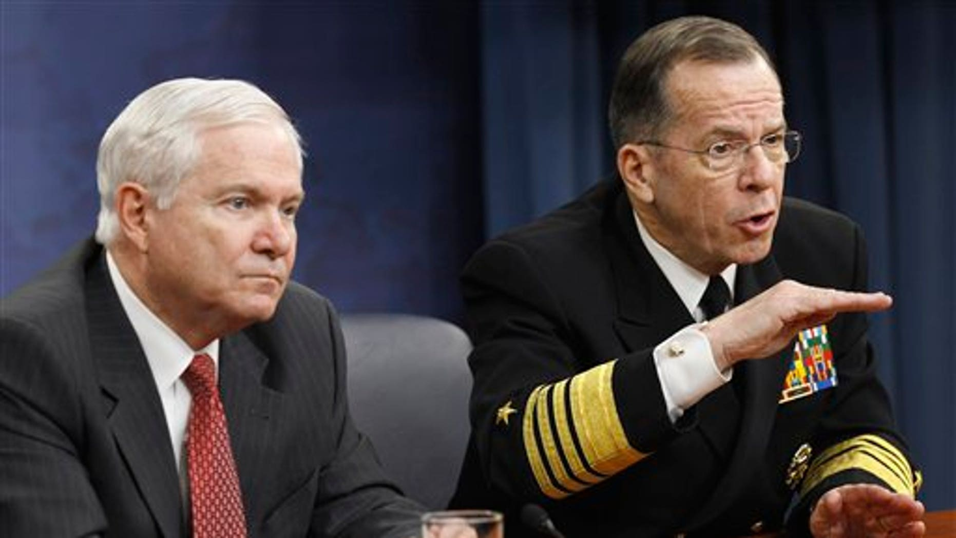 March. 1: Defense Secretary Robert Gates, left, and Joint Chiefs Chairman Adm. Mike Mullen take part in a news conference at the Pentagon. The Pentagon has confirmed that the Libyan government has used air strikes against rebel forces, a finding that bolsters those calling for a U.S. and NATO no-fly zone over the embattled region.
