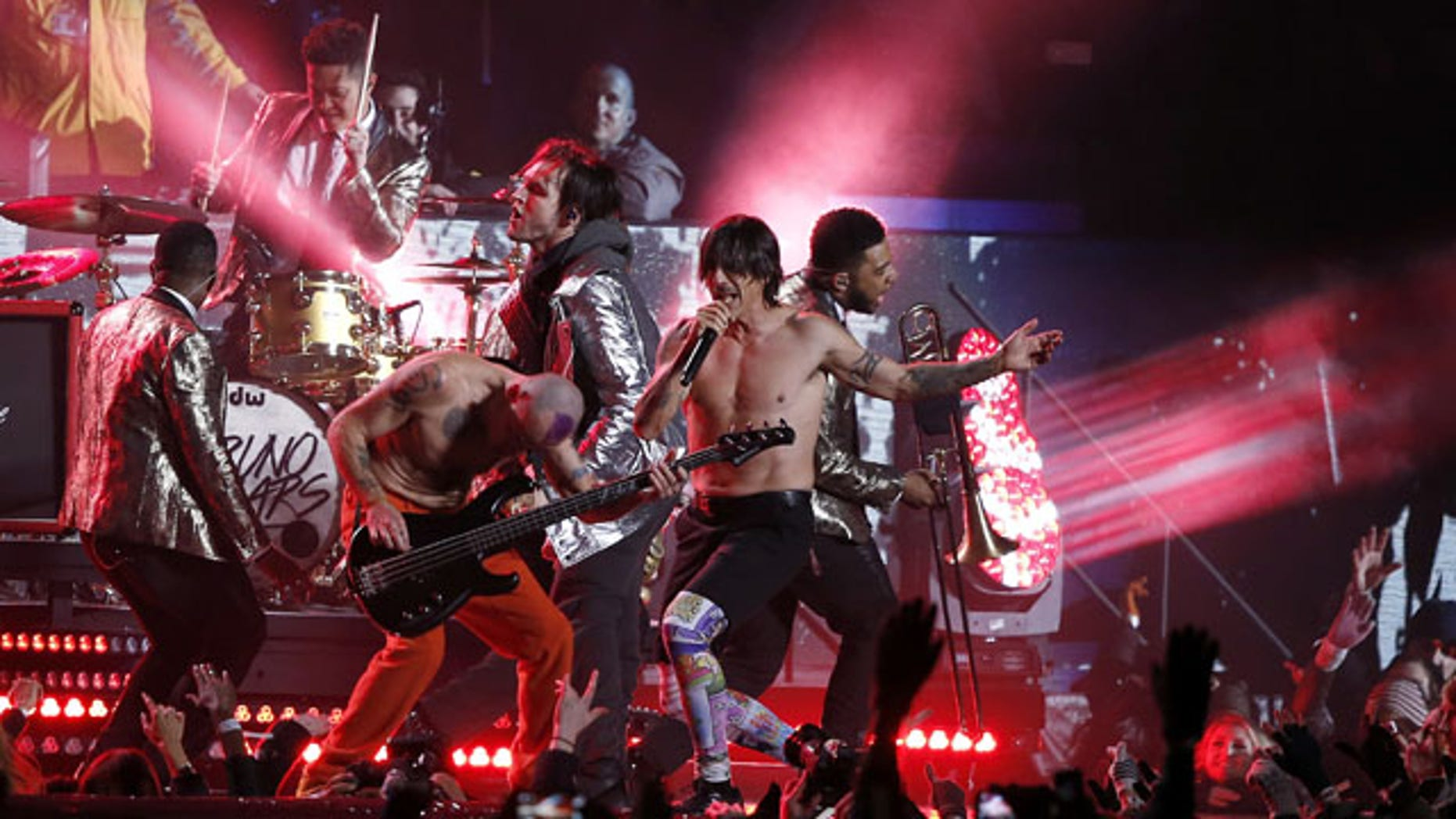 FILE - In this Sunday, Feb. 2, 2014 file photo, The Red Hot Chili Peppers perform during the halftime show of Super Bowl XLVIII between the Seattle Seahawks and the Denver Broncos, in East Rutherford, N.J. (AP)