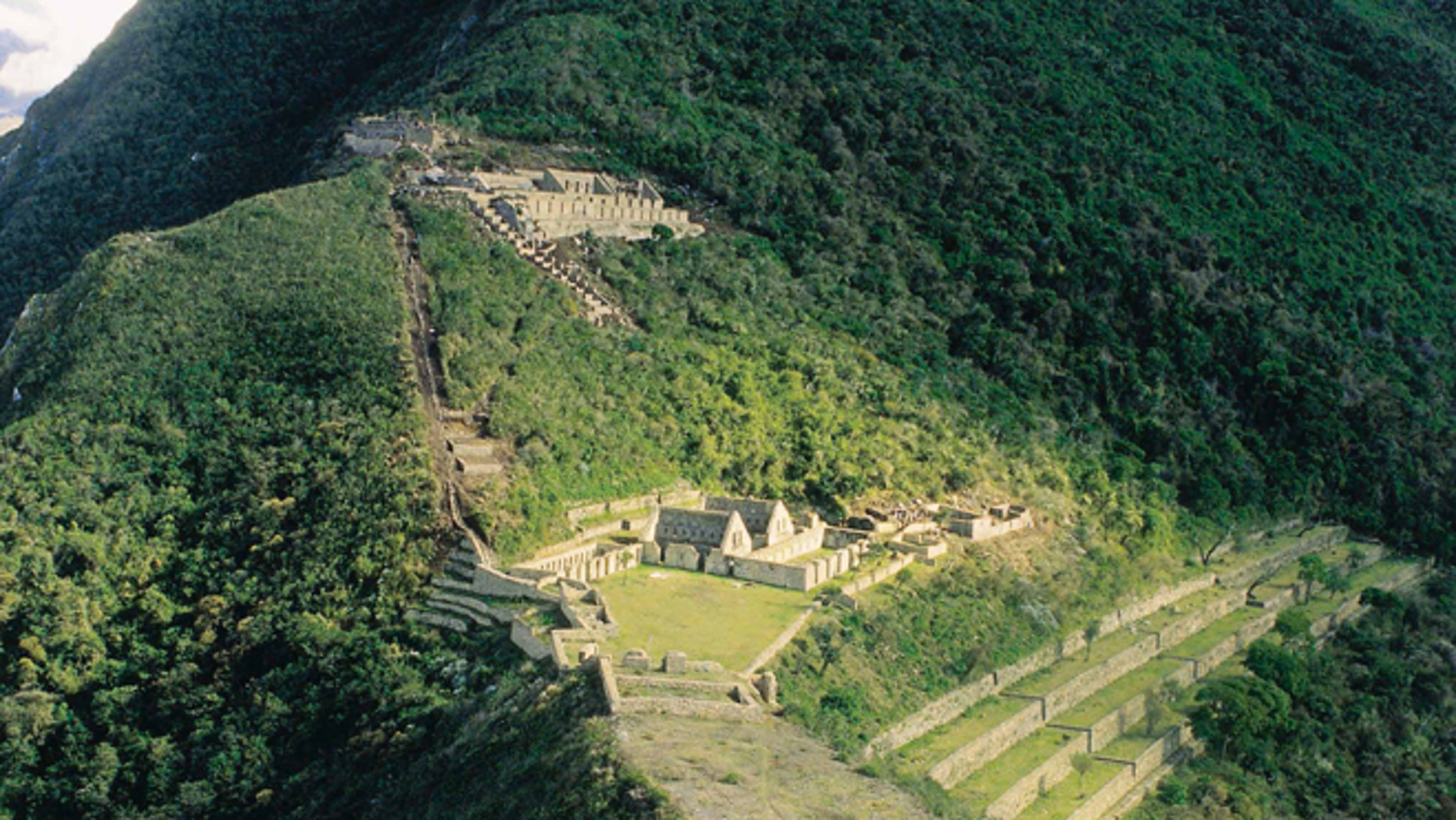 This Aug. 2004 photo provided by the Peru's government organization Promperu, shows the Choquequirao ruins in Cuzco, Peru. Peru's government has approved what will be Peruâs first aerial tramway, making Choquequirao reachable in just 15 minutes from the nearest highway. (AP Photo/Promperu)