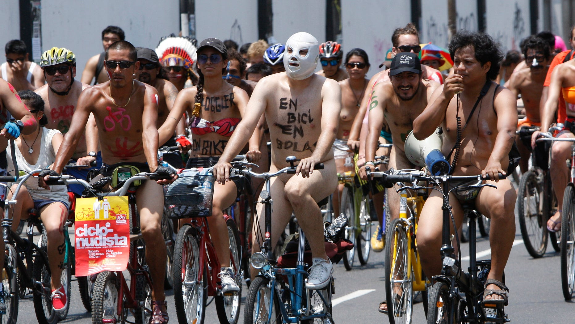 Mar. 10, 2012: Hundreds of nude and semi-nude cyclists demanding that authorities stop the hostilities bicyclists face from motorists, pedal through a main avenue in Lima, Peru.