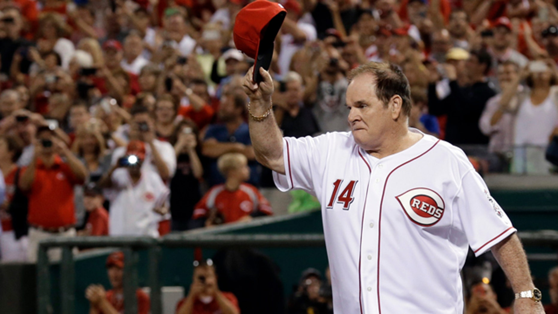 FILE - In this Sept. 6, 2013, file photo, former Cincinnati Reds great Pete Rose walks onto the field during ceremonies honoring the starting eight of the 1975-76 World Series-champion Reds, following a baseball game between the Reds and the Los Angeles Dodgers in Cincinnati. (AP Photo/Al Behrman, File)