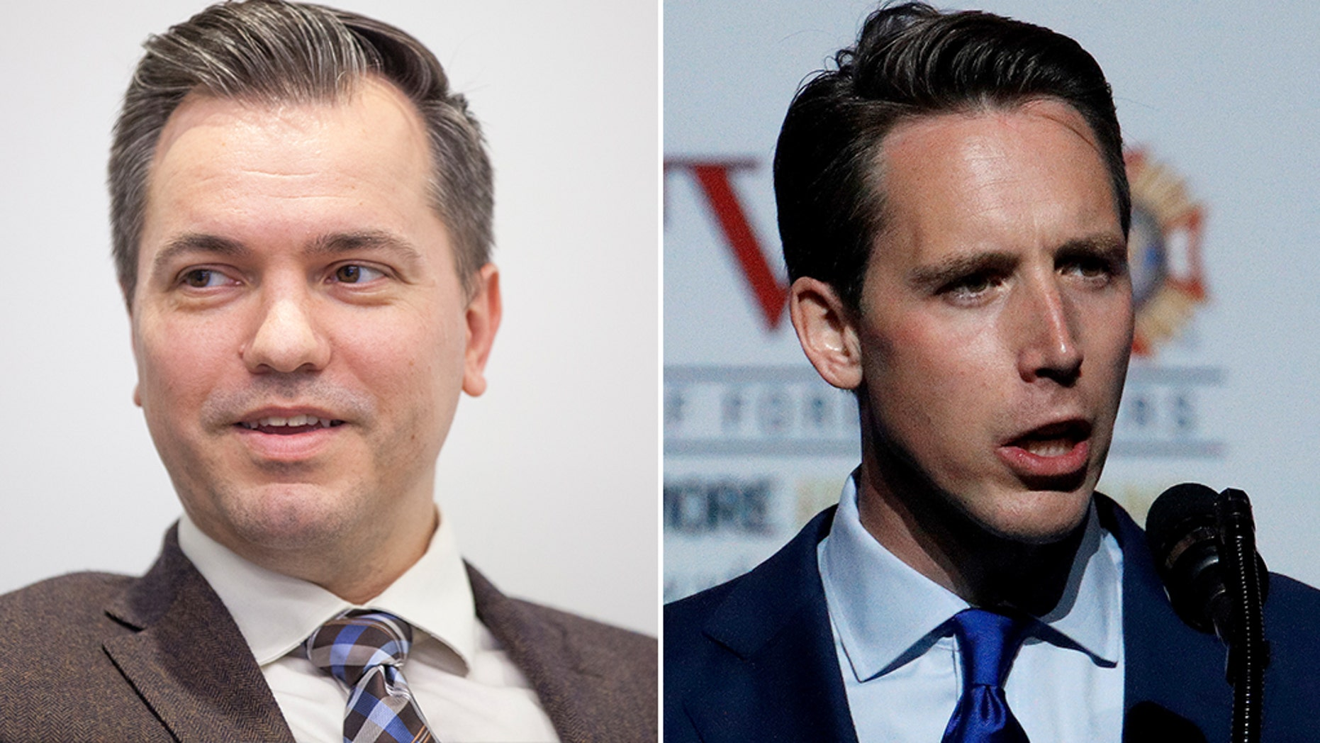 Underdog Republican Senate candidate Austin Petersen (left) warned President Trump on Tuesday against going all-in for primary rival Josh Hawley (right) in Missouri