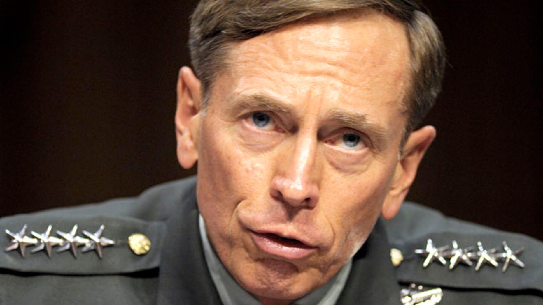 June 23, 2011: In this file photo, then-CIA Director-desigate Gen. David Petraeus testifies on Capitol Hill in Washington.