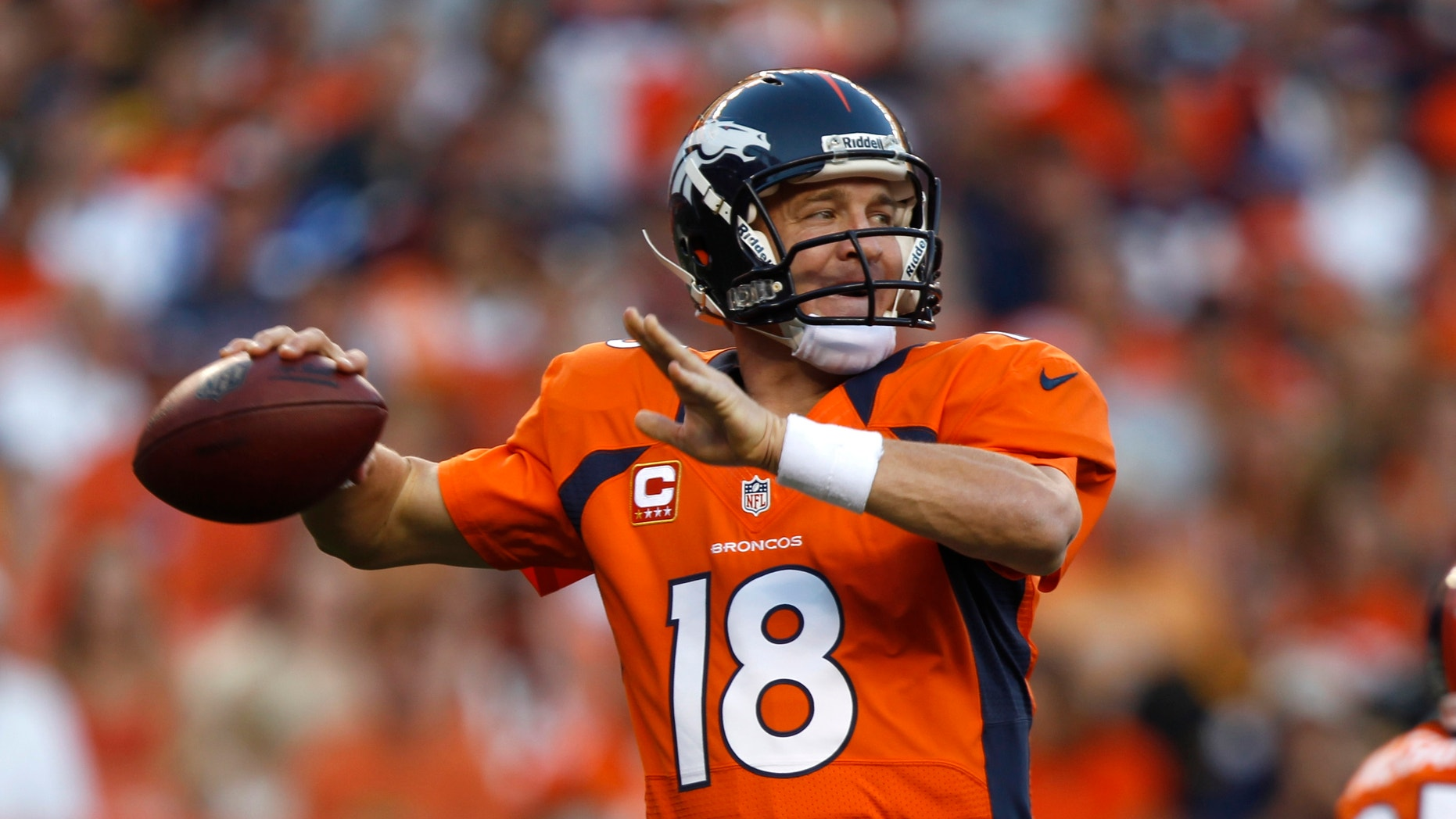 Sept. 9, 2012: Denver Broncos quarterback Peyton Manning looks to pass against the Pittsburgh Steelers during the first quarter of an NFL football game.