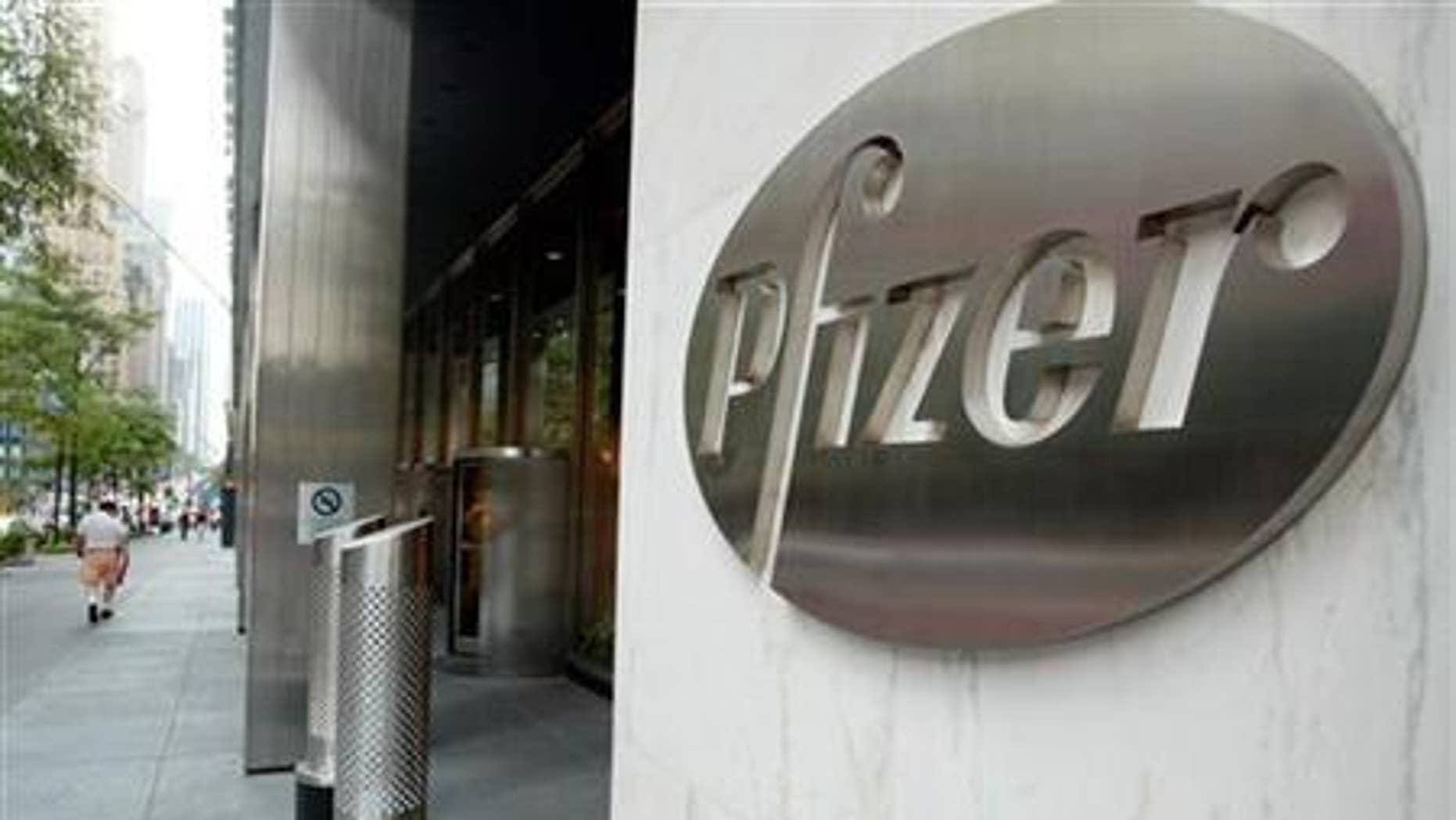 The entrance of Pfizer World headquaters in New York City, August 31, 2003. REUTERS/Jeff Christensen