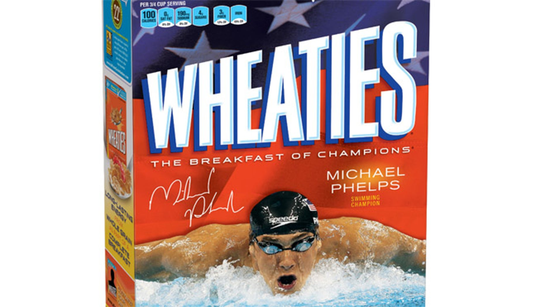 Aug. 16. 2012: This image provided by General Mills shows a limited-edition box of Wheaties featuring Michael Phelps.