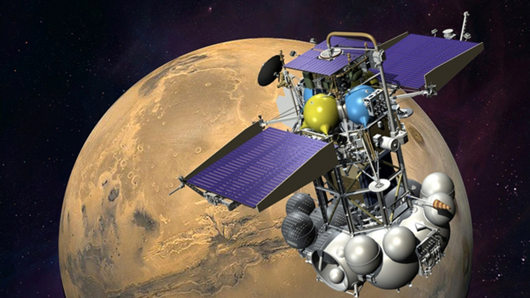An artist's impression of Phobos-Grunt in Mars orbit.
