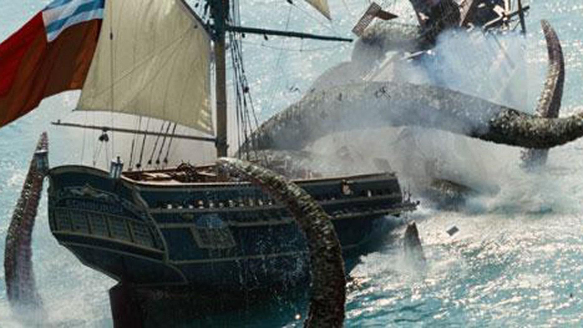 "The Kraken destroys the Edinburgh Trader in the film, ""Pirates of the Caribbean: Dead Man's Chest."""