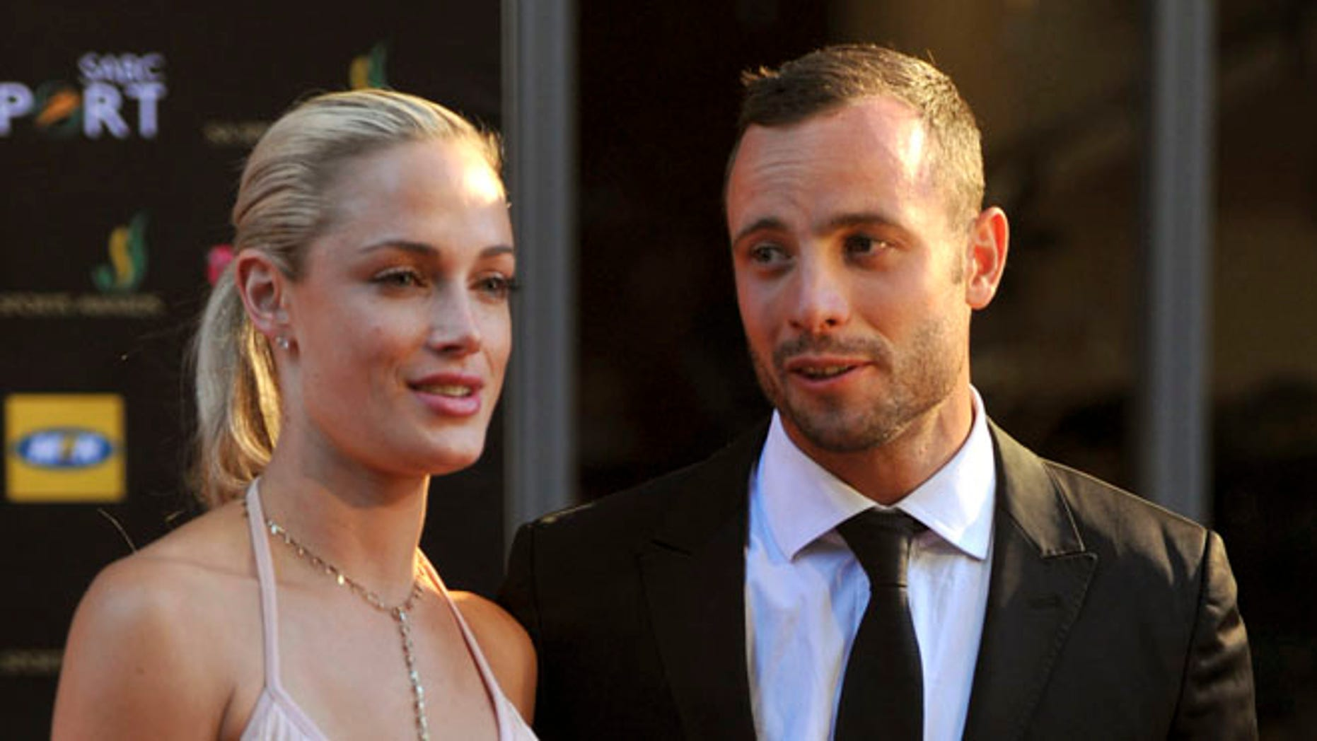Nov. 4, 2012: In this photo, South African Olympic athlete Oscar Pistorius and Reeva Steenkamp, believed to be his girlfriend, at an awards ceremony, in Johannesburg, South Africa.