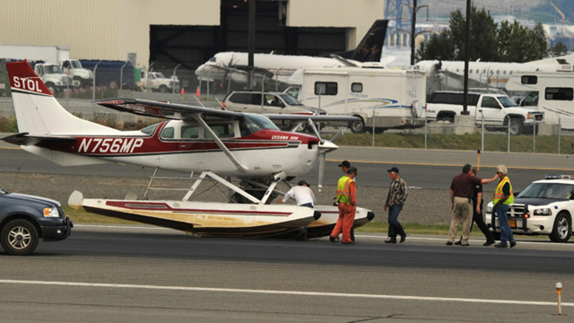 July 30: A float plane sits at Ted Stevens International Airport after making an emergency landing on Saturday.