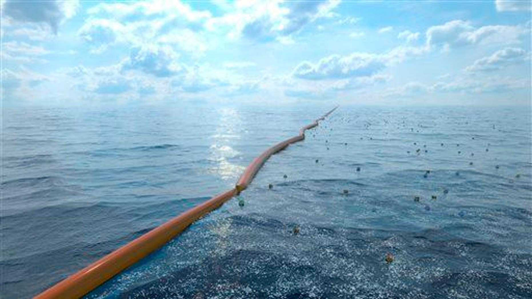 This computer-generated artists' illustration provided by The Ocean Cleanup shows how a floating barrier and collection station might appear in a project to collect plastic garbage from the world's oceans.