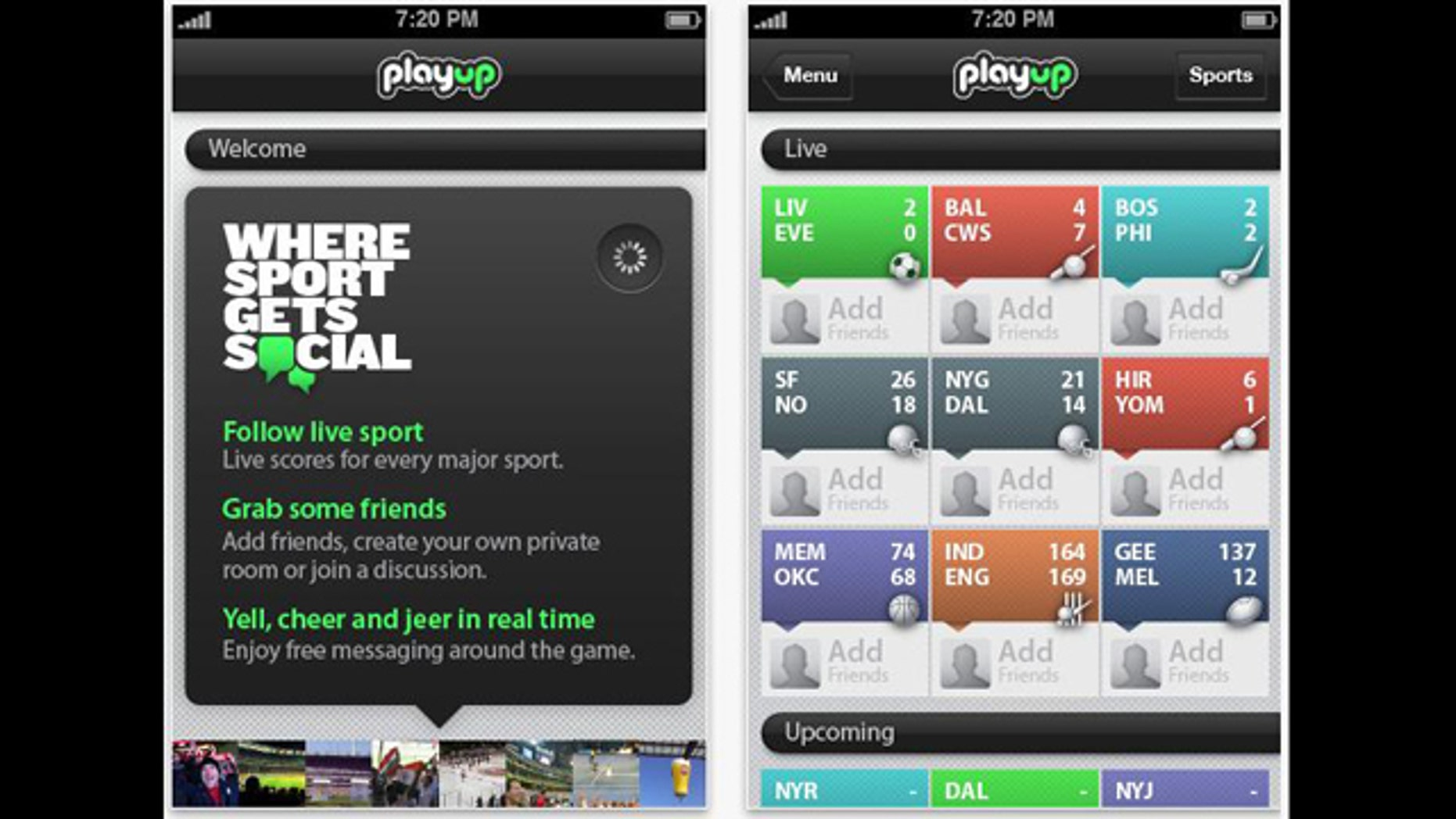 The PlayUp application lets you follow a live sporting event with your friends no matter where they are around the country.