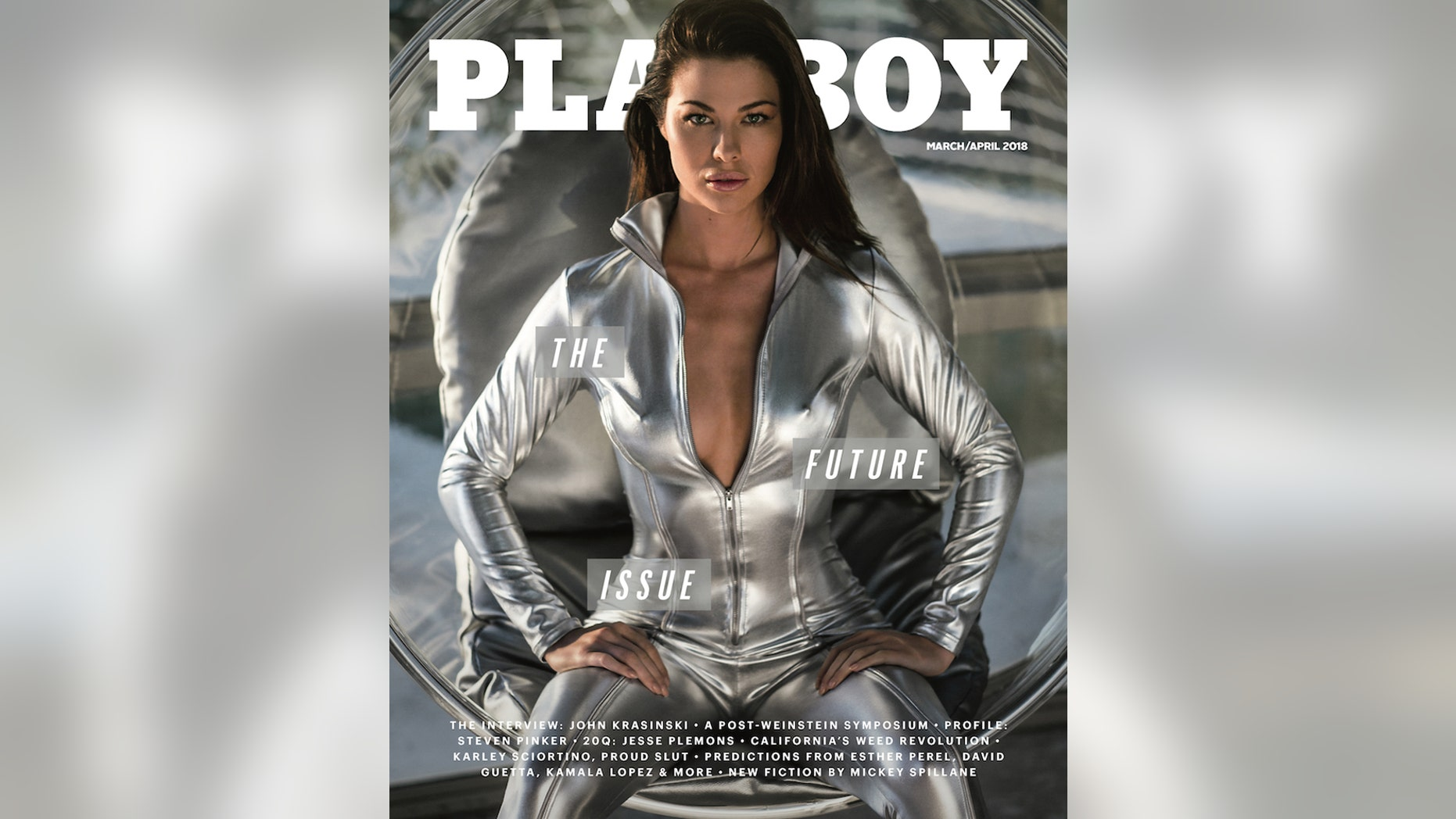 """Playboy unveiled """"The Future Issue"""" as the March/April 2018 edition, via Instagram today, with March Playmate Jenny Watwood on the cover."""
