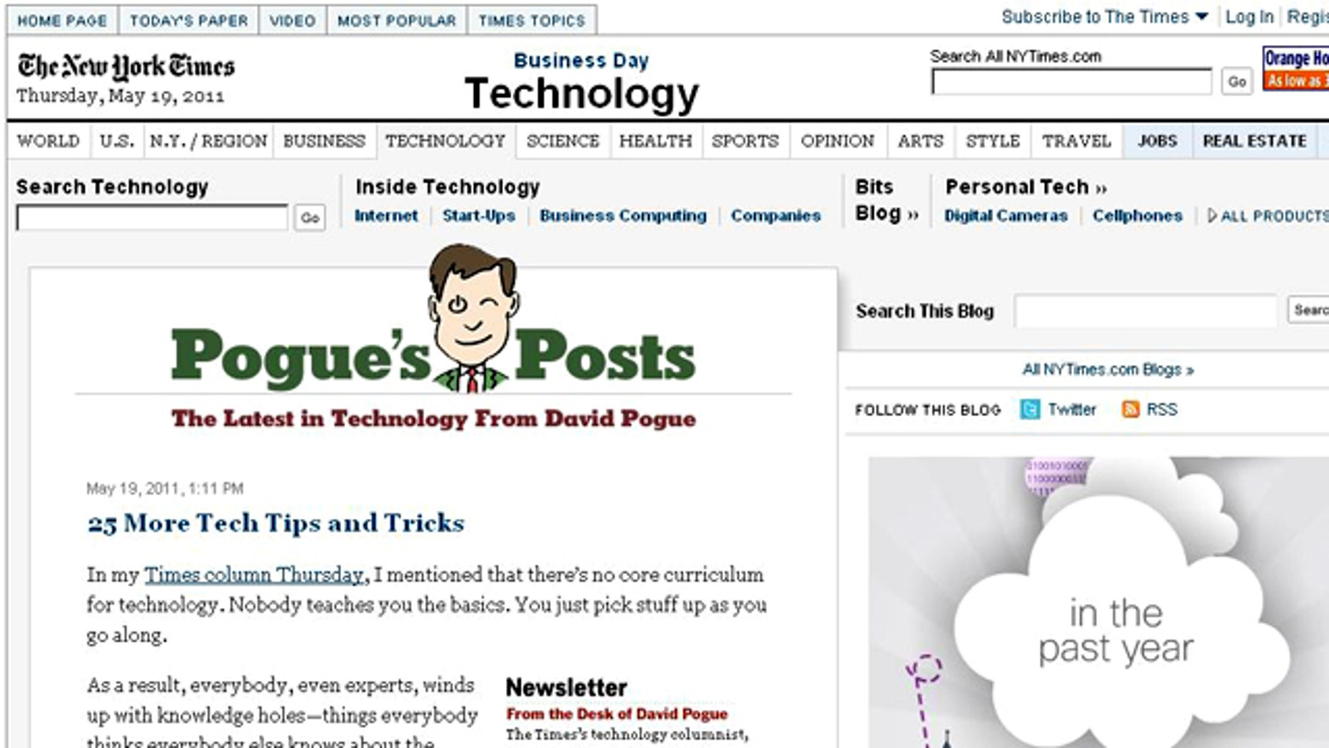 A screen shot of Pogue's Posts, a New York Times column by tech columnist David Pogue.