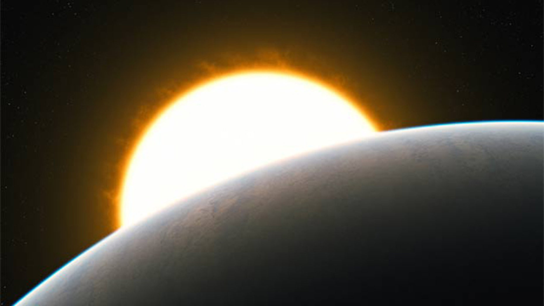 This artist's impression shows the Jupiter-like transiting planet HD 209458b around its sun-like star. The very high precision observations of carbon monoxide gas show that it is streaming with enormous speed from the extremely hot day side to the cooler night side of the planet.
