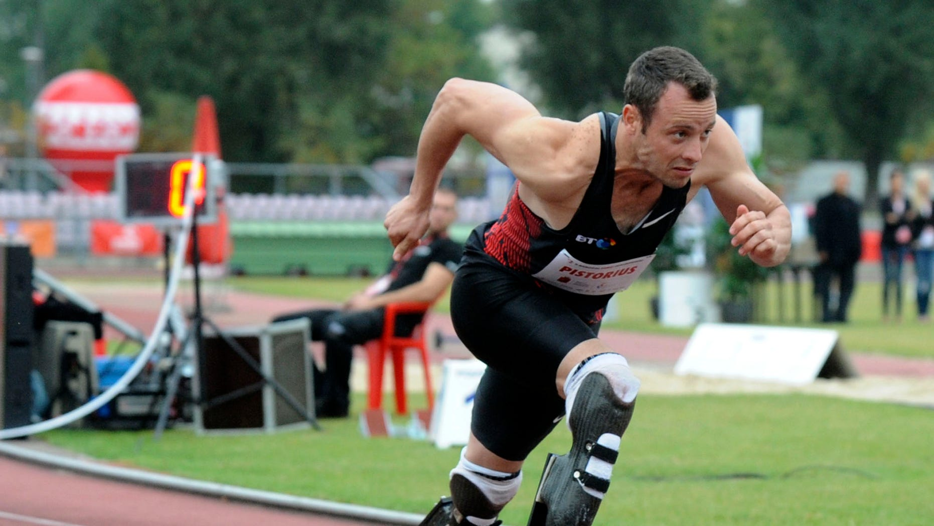 Sept. 20, 2011: In this file photo, South Africa's Oscar Pistorius runs in a 400 meter race in Warsaw, Poland.