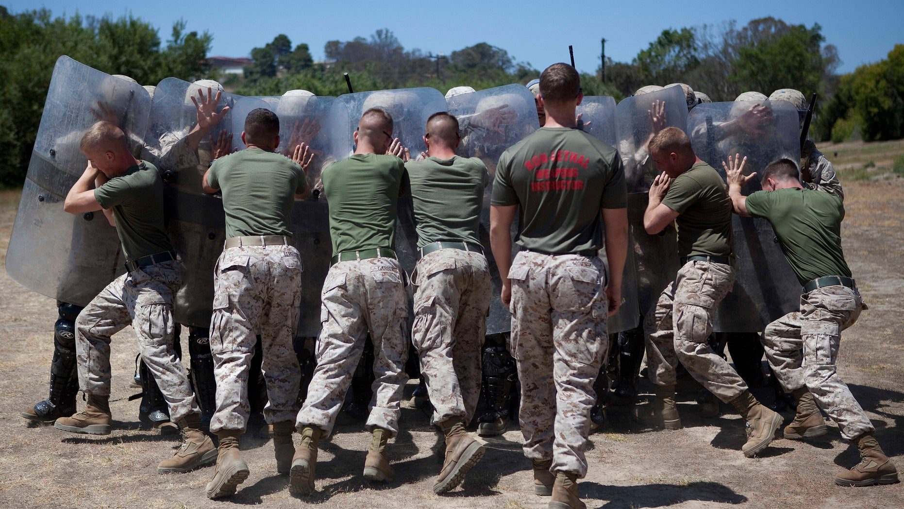 July 19, 2012: Marines in Bravo Company of the 1st Law Enforcement Battalion practice non-lethal crowd control techniques at the Marine Corps base at Camp Pendleton, Calif.