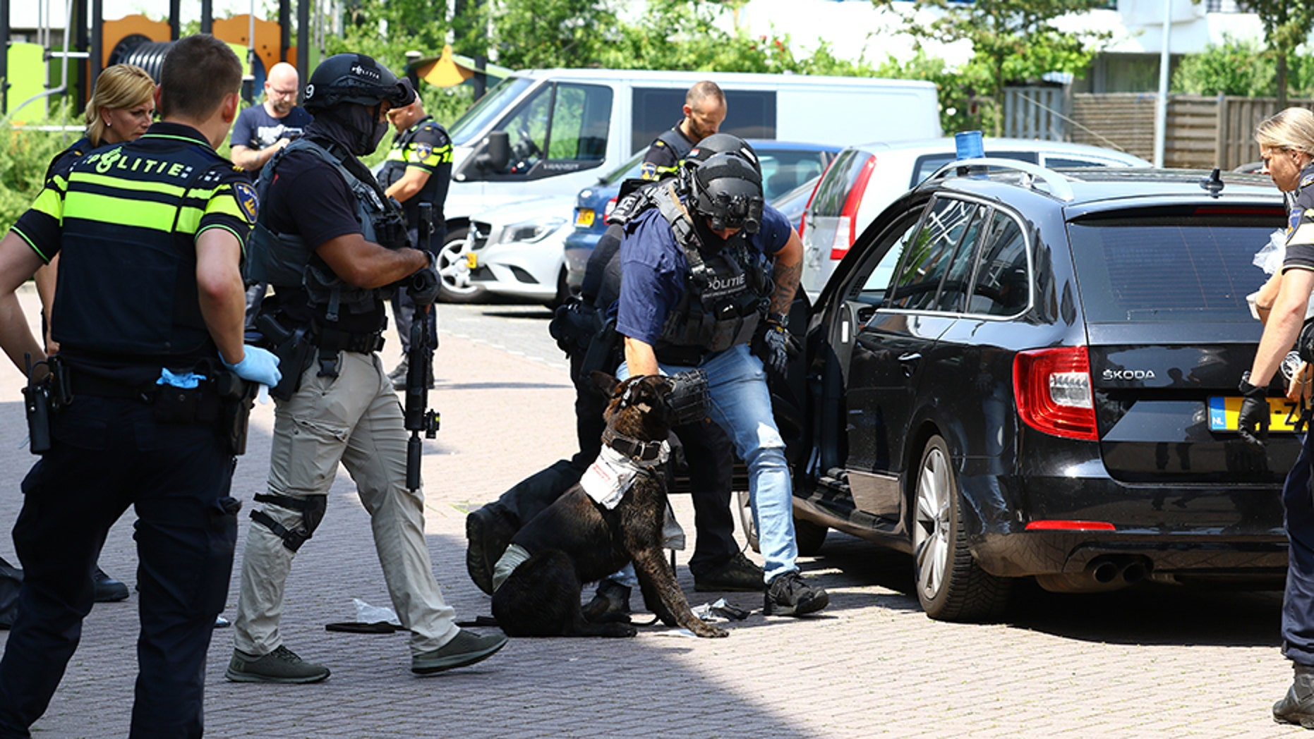 "A K-9 officer died on Wednesday after it was stabbed by a Syrian man who police say shouted ""Allahu akbar"" from an apartment balcony in the Netherlands."