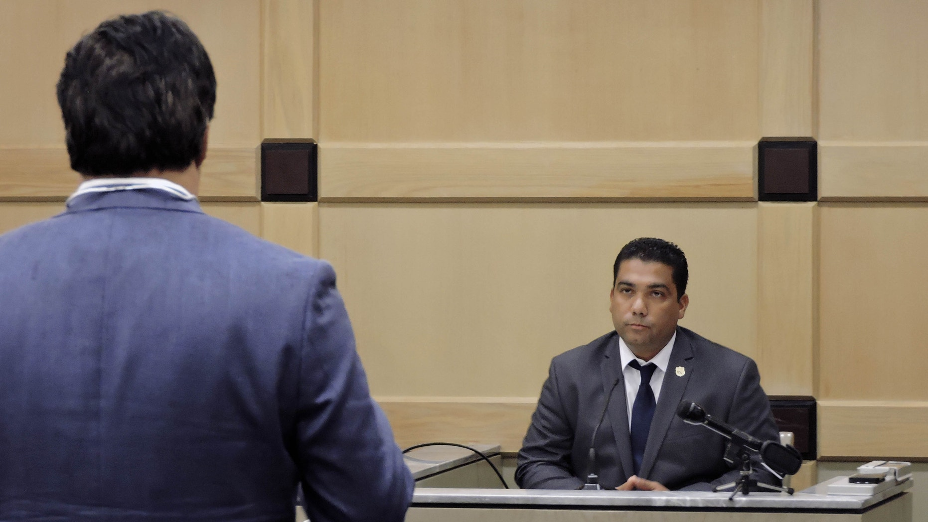 Peraza begins answering questions from his attorney on June 16, 2016 in Fort Lauderdale,