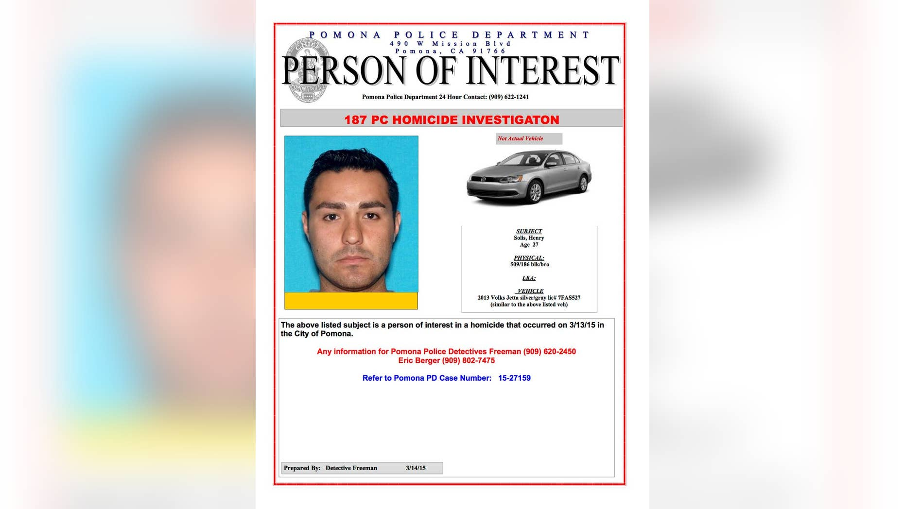 This Internet 'person of interest' message posted online by the Pomona, Calif., Police Department shows Henry Solis. (AP/Pomona Police Department)