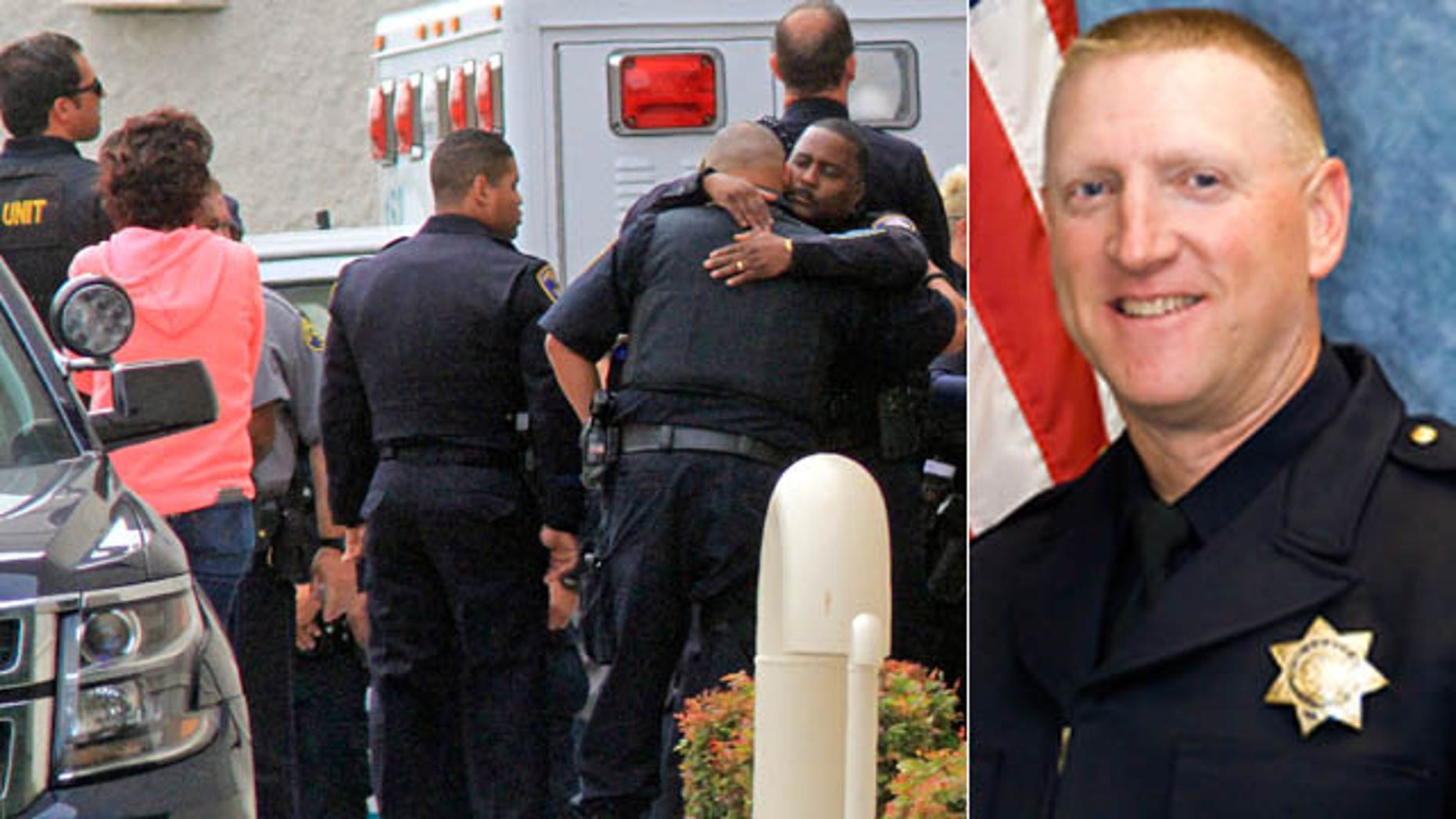 July 22, 2015: Law enforcement members gather at Eden Medical Center in Castro Valley, Calif.,where Hayward Police Sgt. Scott Lunger, right, was transported after being shot and killed during a traffic stop. Lunger, 48, was shot in the early morning after he stopped a white Chevrolet pickup that was swerving on the road and driving erratically. (Laura A. Oda/Bay Area News Group via AP)