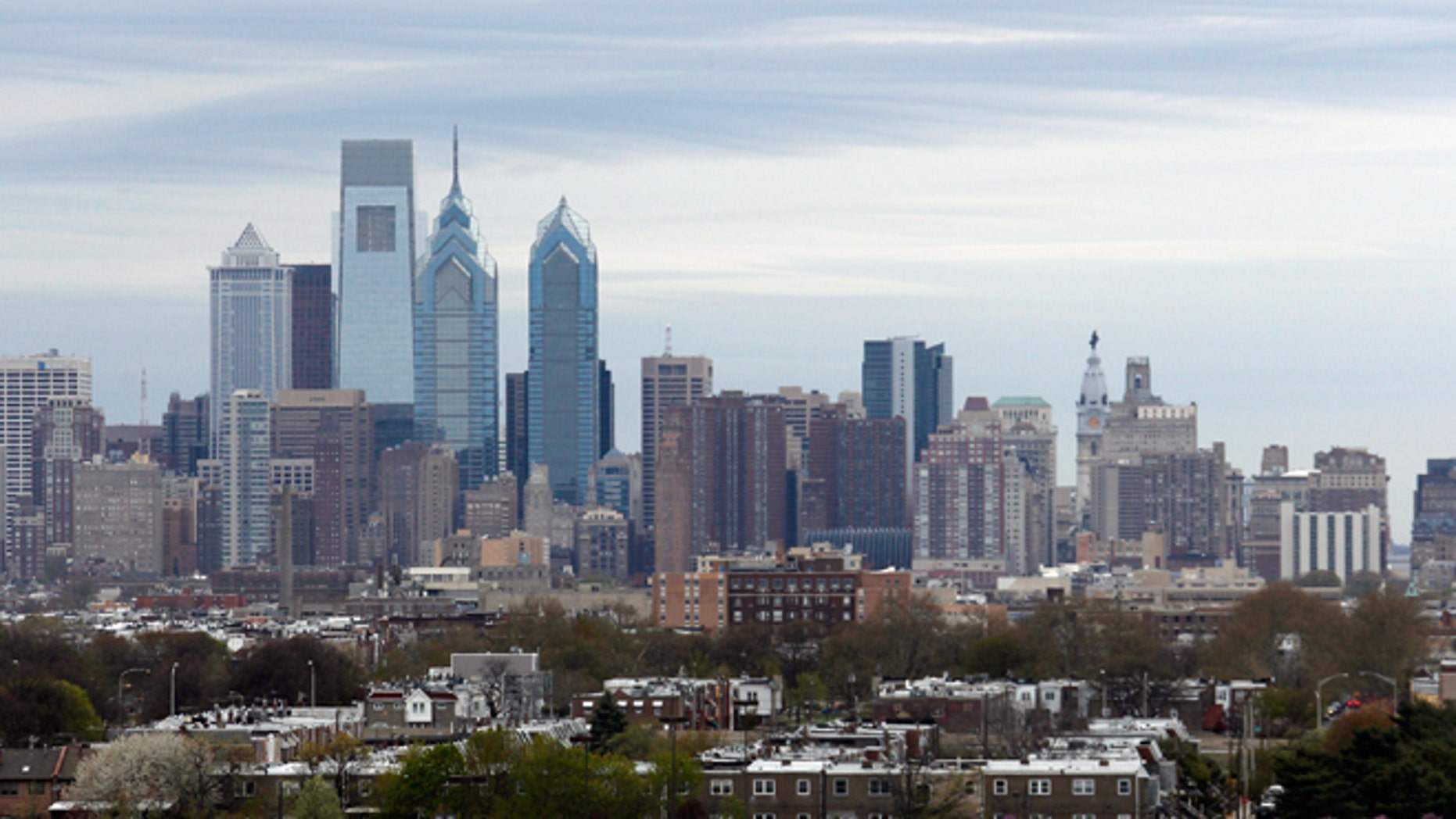PHILADELPHIA, PA - APRIL 25: A general view of the Philadelphia city skyline prior to the game between the Philadelphia Flyers and the New York Rangers in Game Four of the First Round of the 2014 NHL Stanley Cup Playoffs at the Wells Fargo Center on April 25, 2014 in Philadelphia, Pennsylvania.  (Photo by Bruce Bennett/Getty Images)