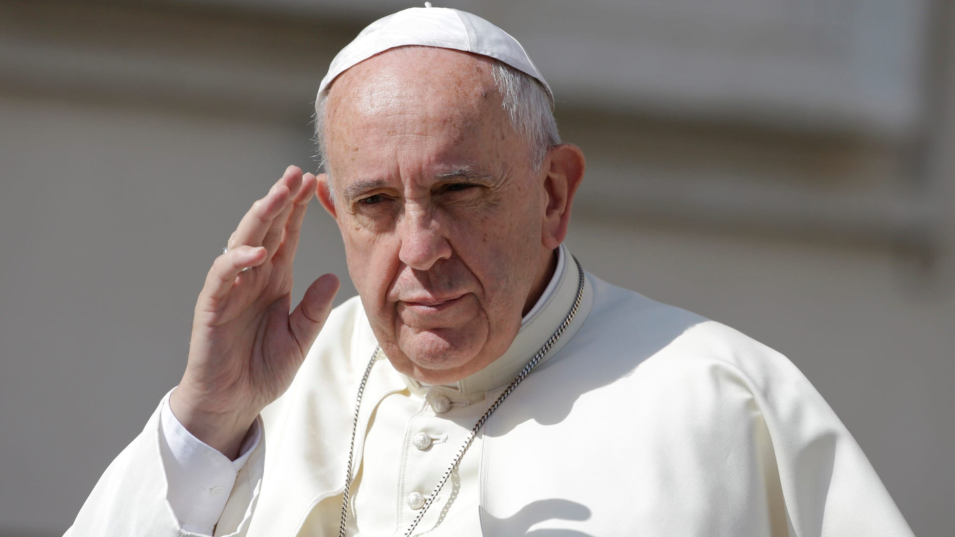 Pope Francis in St. Peter's Square at the Vatican, Wednesday, June 17, 2015.