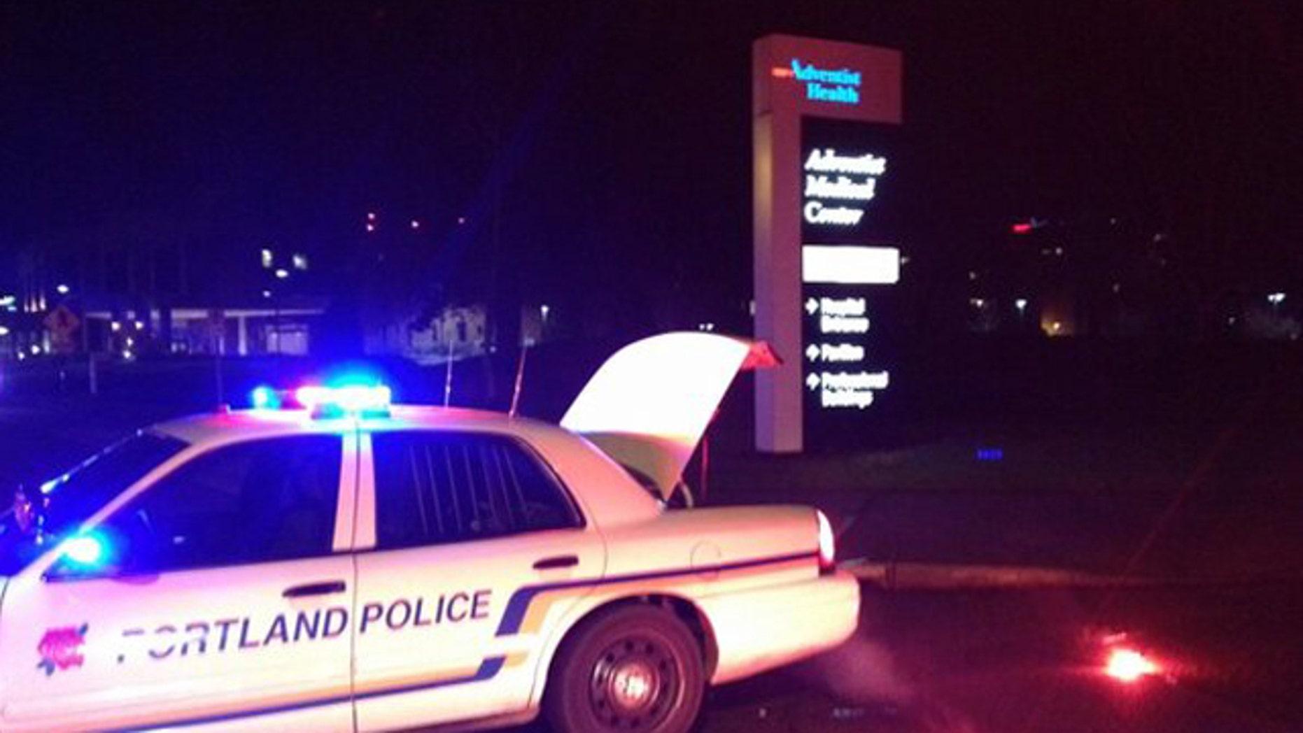 Feb. 17, 2013: Police investigate a shooting near a Portland hospital.