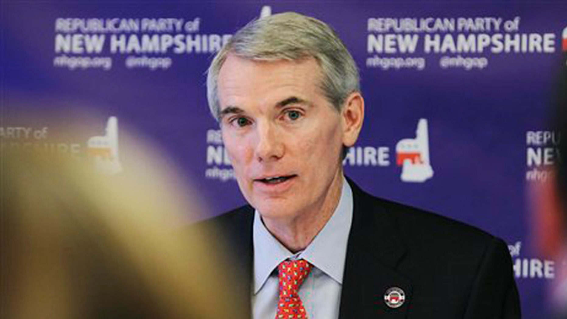 Saturday, July 7, 2012: Sen. Rob Portman, R-Ohio, speaks at a media roundtable hosted by the New Hampshire Republican Party, in Concord, N.H.