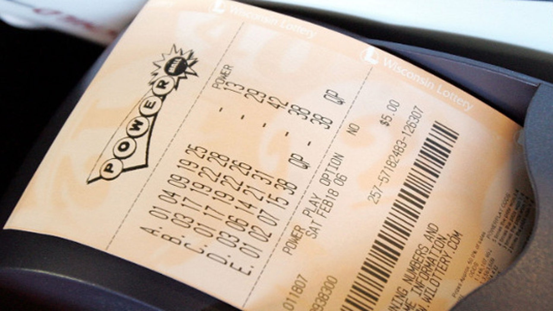 This undated photo shows a Powerball ticket (Fox2Detroit.com)