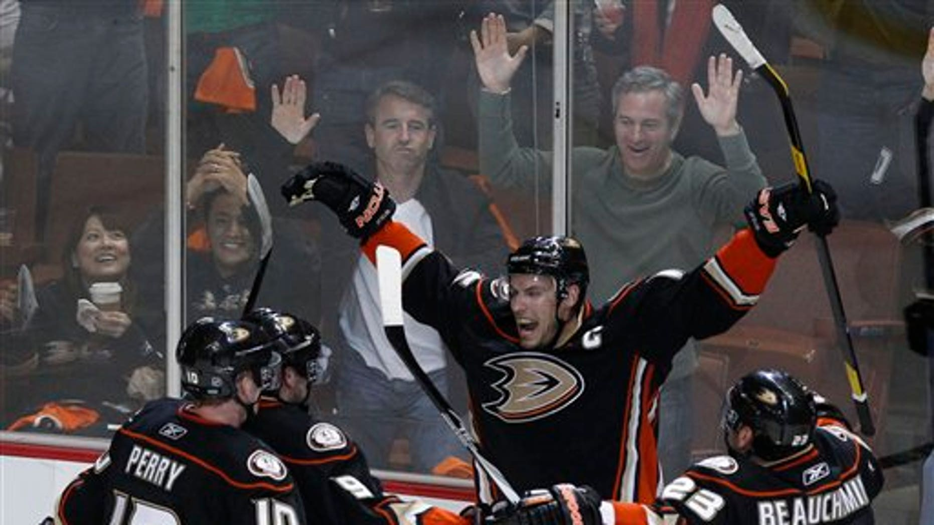 April 15: Anaheim Ducks center Ryan Getzlaf, middle celebrates his goal against the Nashville Predators during the second period of Game 2 of a first-round NHL Stanley Cup playoff hockey series in Anaheim, Calif. (AP)