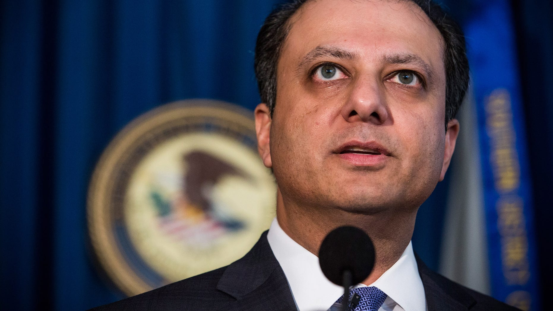 NEW YORK, NY - NOVEMBER 04:  U.S. Attorney for the Southern District of New York, Preet Bharara, speaks at a press conference to announce a proposed resolution to insider trading and civil charges against four S.A.C. Capital Management companies, on November 4, 2013 in New York City.  The S.A.C. will have to pay $900 million in fines.  (Photo by Andrew Burton/Getty Images)