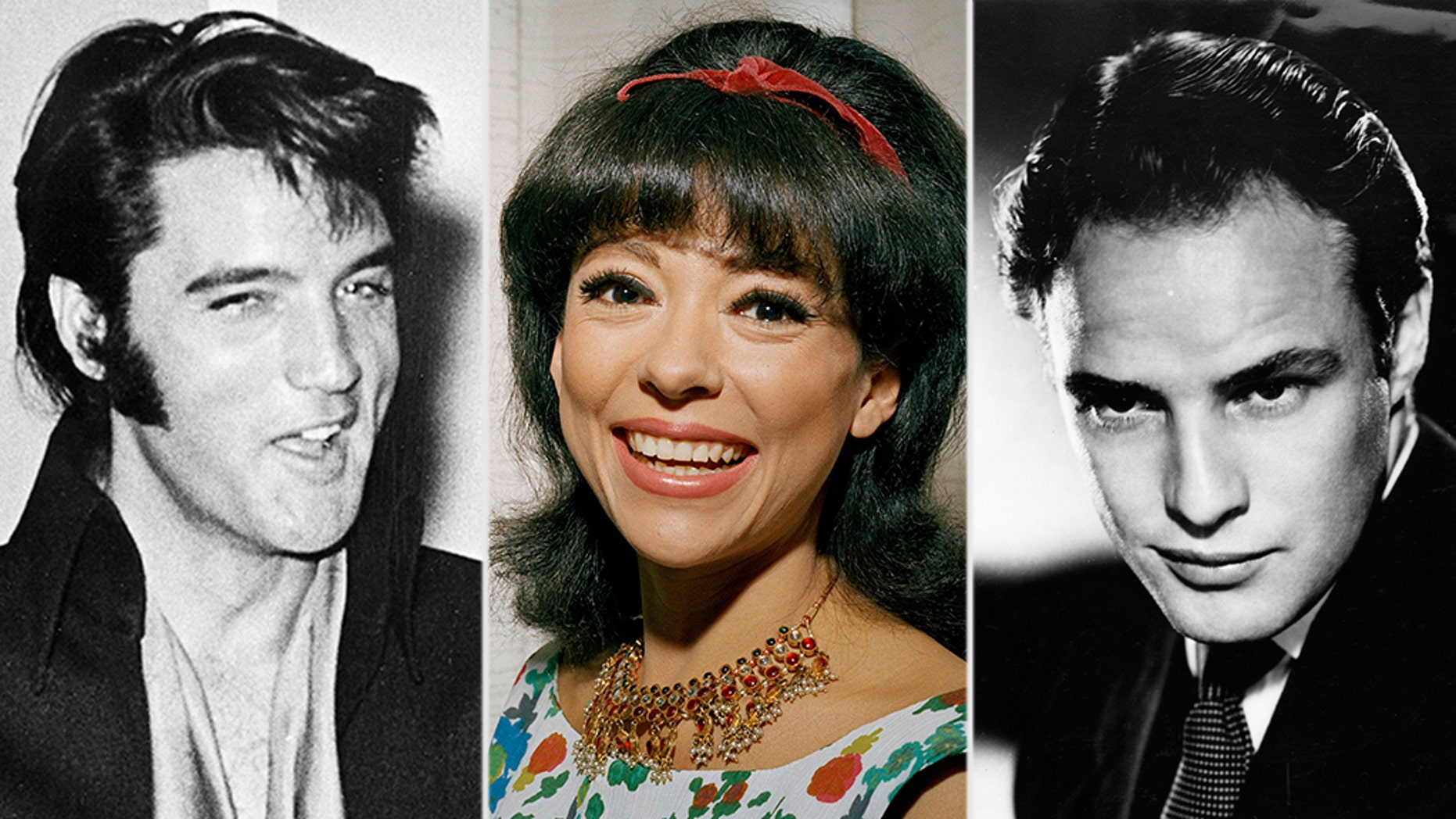 """Rita Moreno (center) of """"West Side Story"""" fame claimed that Marlon Brando (right) was a better lover in bed than Elvis Presley."""