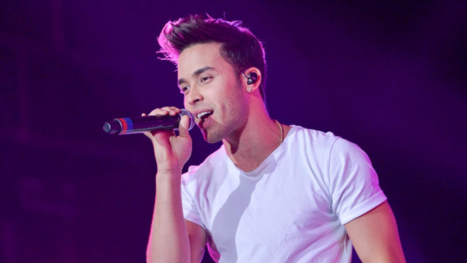 Prince Royce on stage on December 5, 2015 in Miami, Florida.