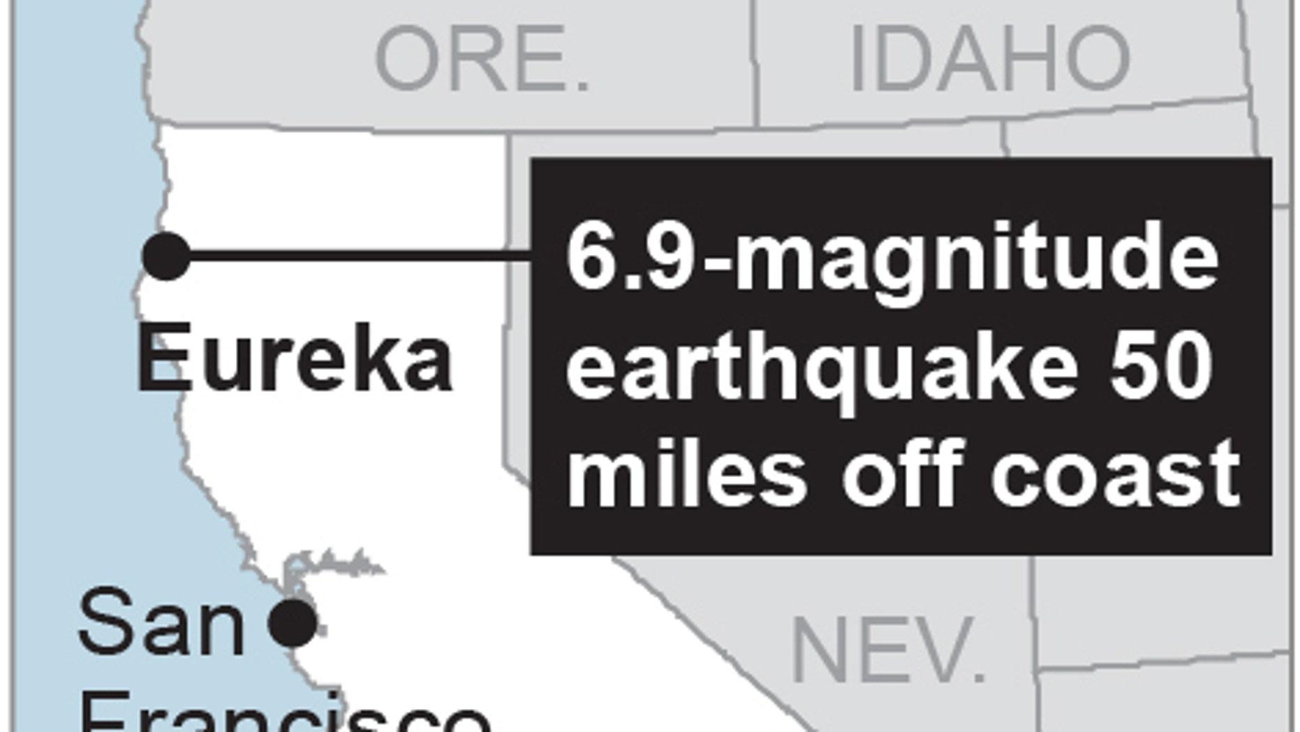Map locates Eureka, Calif.; 1c x 2 inches; 46.5 mm x 50 mm;