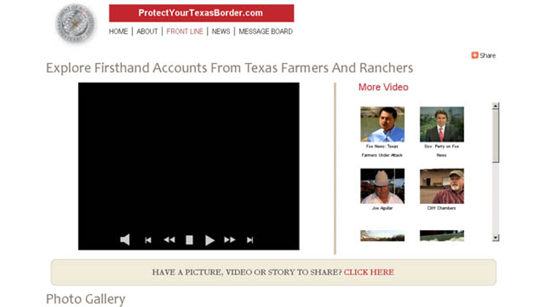 Image of the website ProtectYourTexasBorder.com