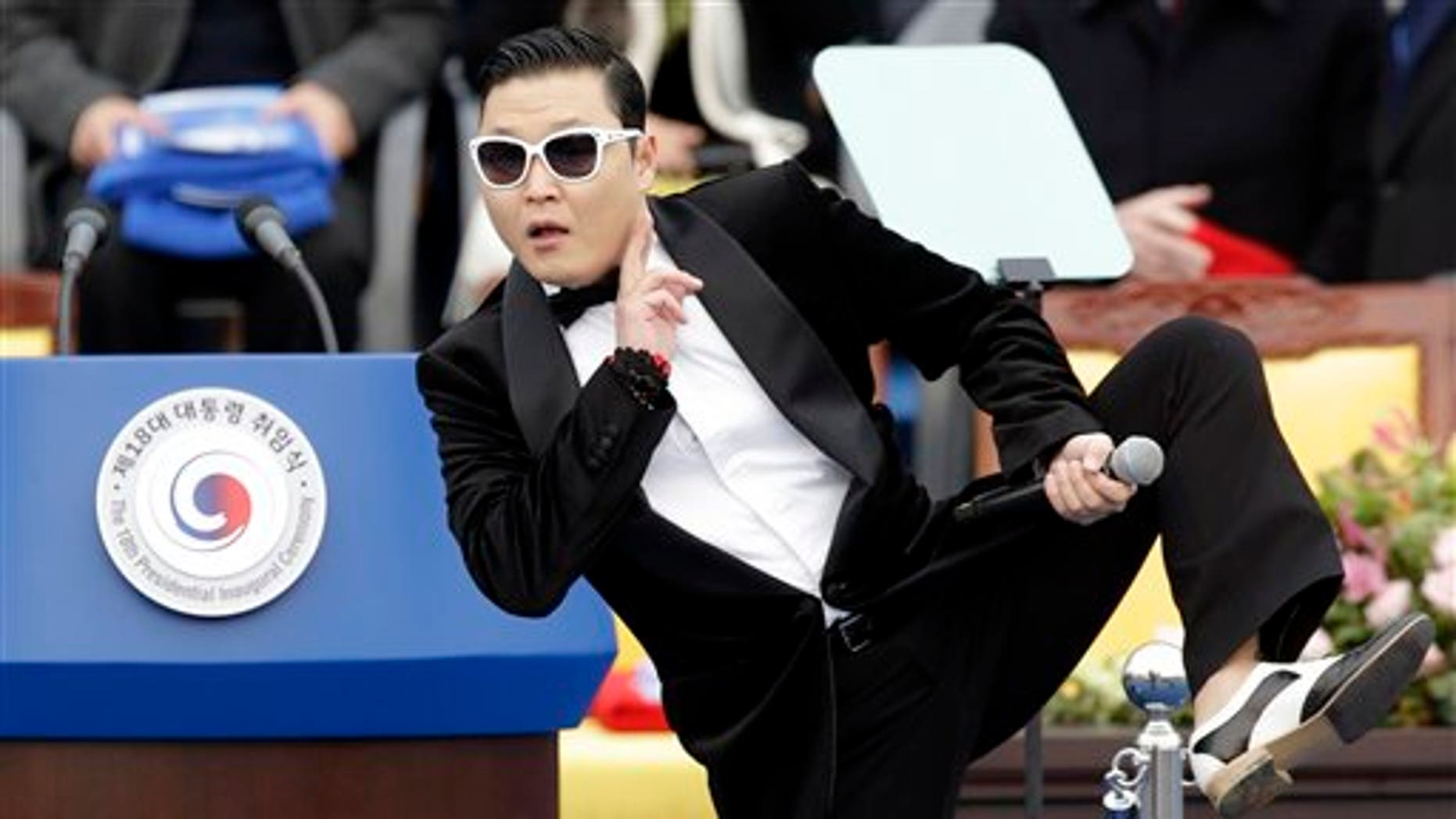 South Korean rapper PSY performs before President Park Geun-hye's presidential inauguration ceremony.