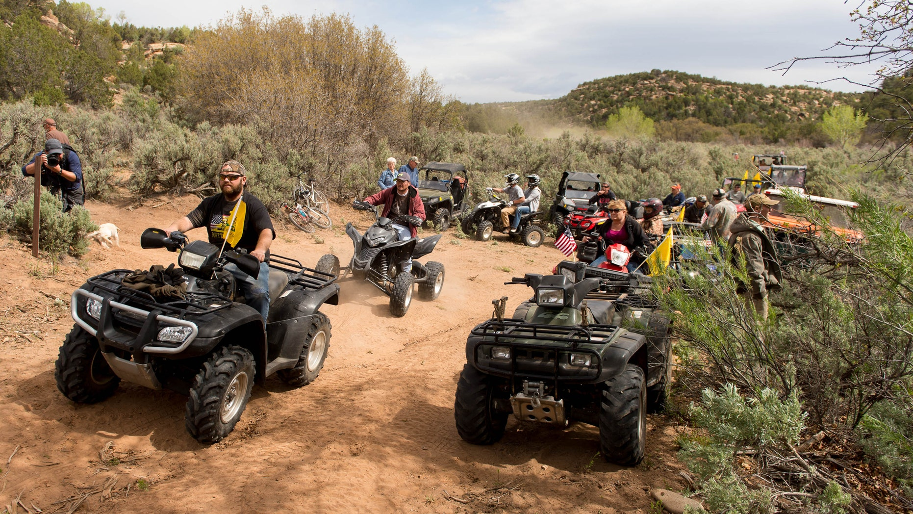 May 10, 2014: ATV riders cross into a restricted area of Recapture Canyon, north of Blanding, Utah, in a protest against what demonstrators call the federal government's overreaching control of public lands.