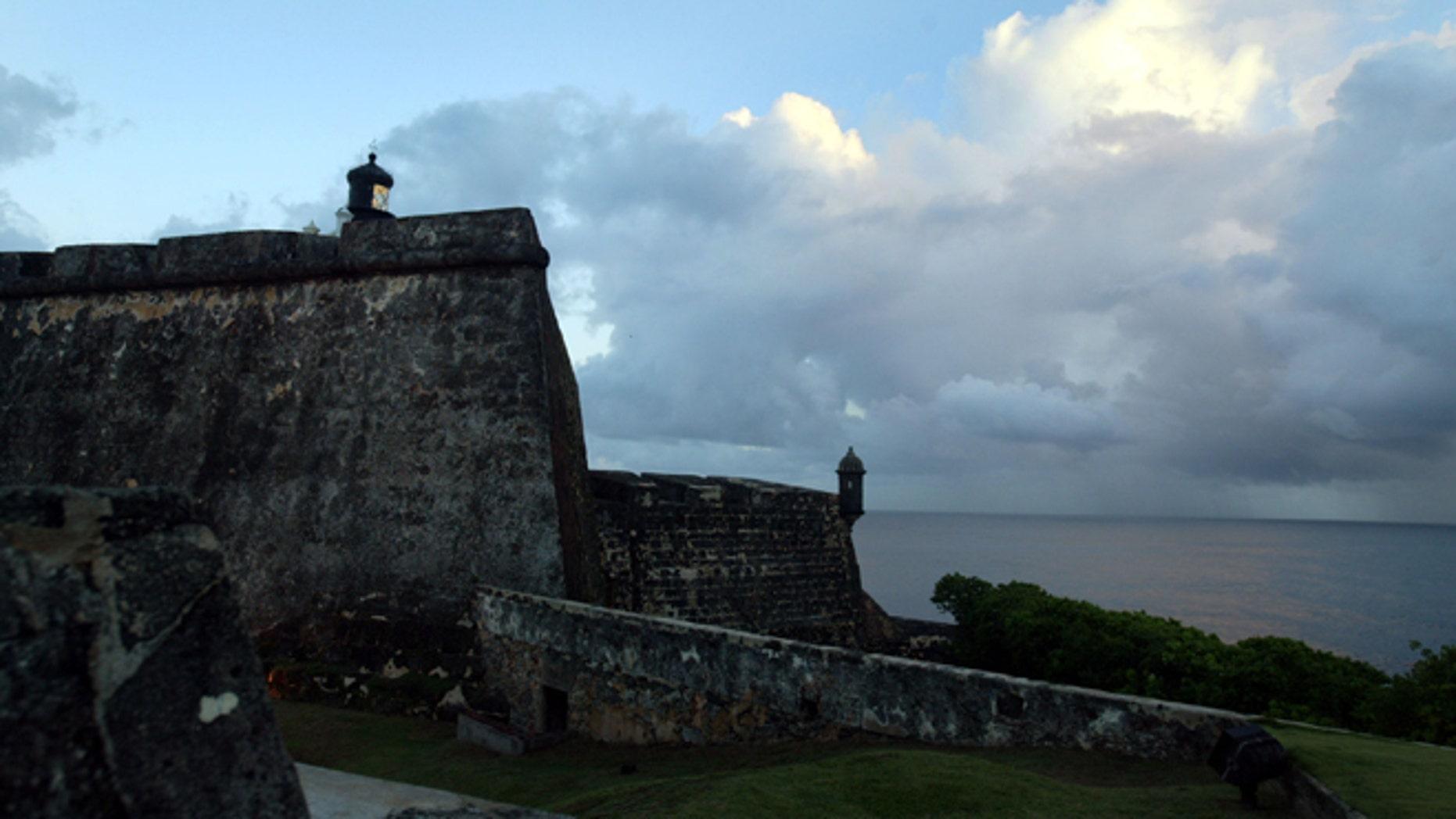 Stone walls surround the Castillo de San Felipe del Morro April 26, 2004 in Old San Juan.