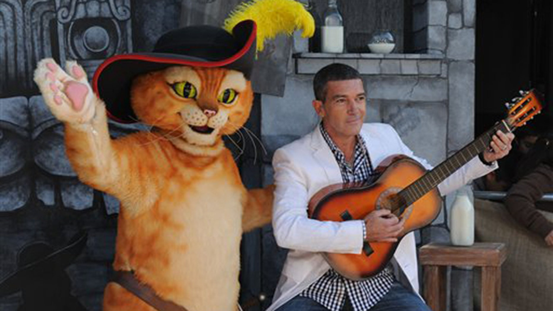 """Oct. 22, 2011: Antonio Banderas arrives at the premiere of """"Puss In Boots"""" Sunday, Oct. 22, 2011, at The Regency Village Theater in Los Angeles. """"Puss In Boots"""" opens in theaters on Oct. 28, 2011."""