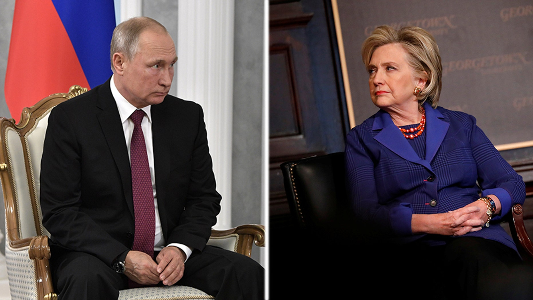 "Hillary Clinton accused Russian President Vladimir Putin of leading ""an authoritarian, white-supremacist and xenophobic movement."""