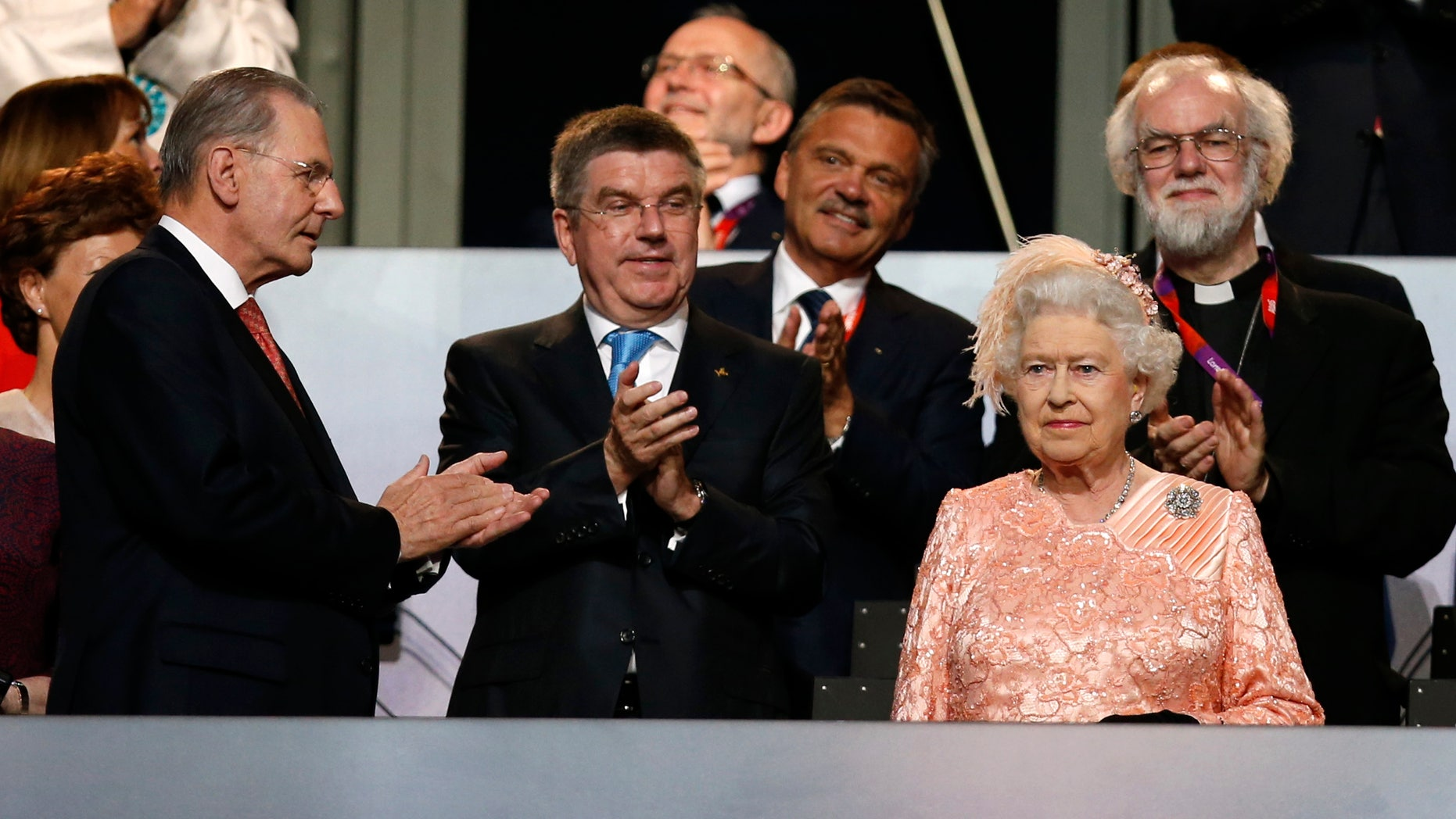 July 27, 2012: Queen Elizabeth II looks at at the 2012 London Olympic Games