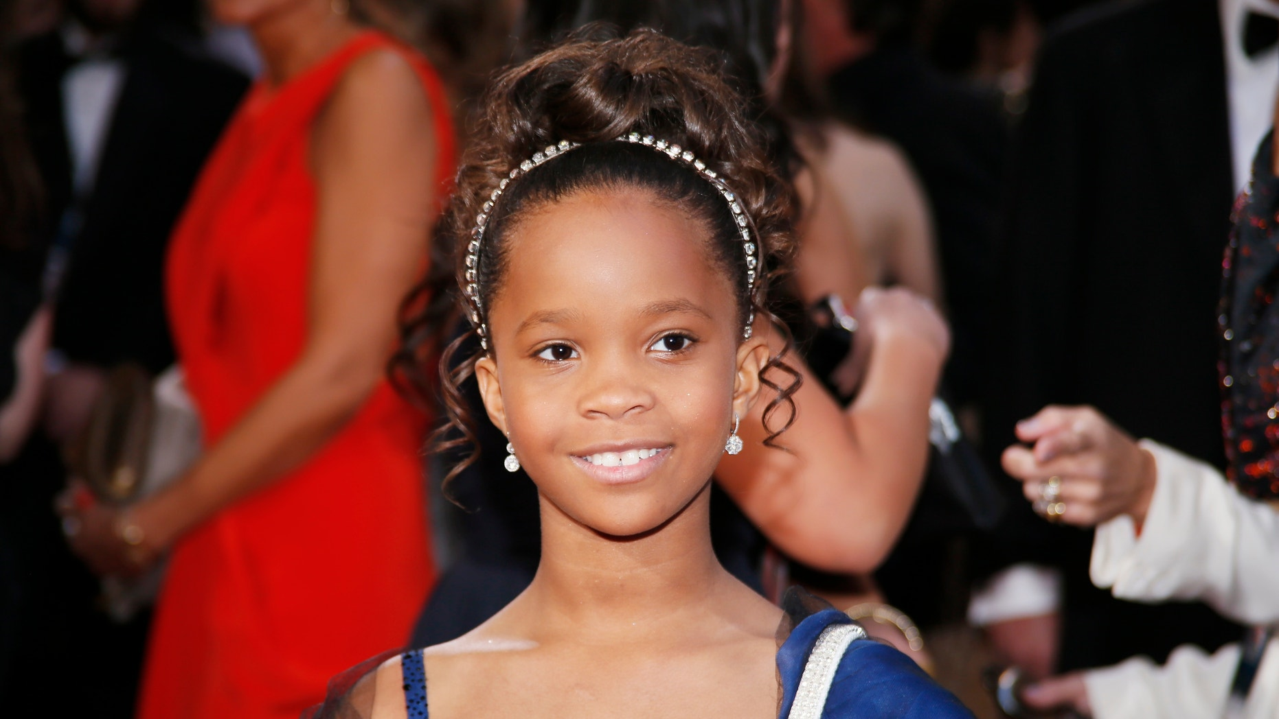 """Quvenzhane Wallis, best actress nominee for her role in """"Beasts of the Southern Wild"""", arrives at the 85th Academy Awards in Hollywood, California February 24, 2013."""