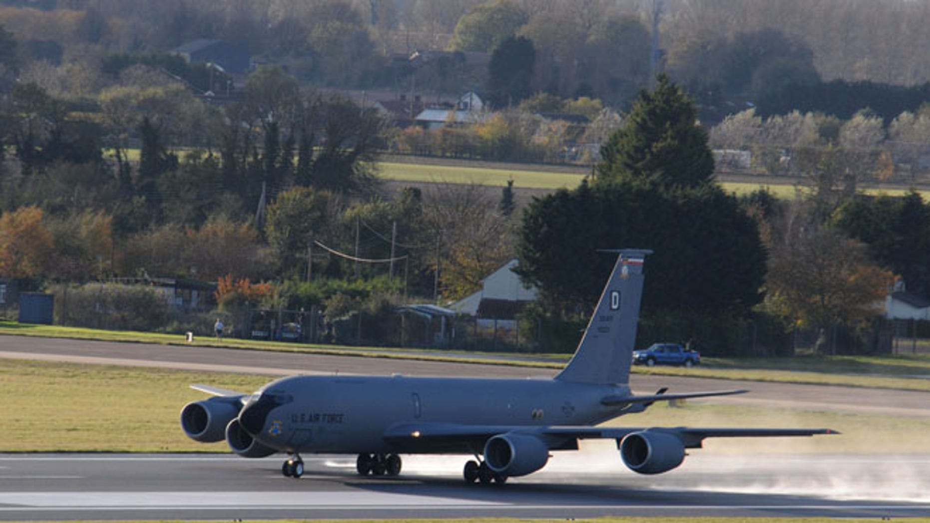 A KC-135 Stratotanker takes off Nov. 12, 2014 at RAF Mildenhall, England.
