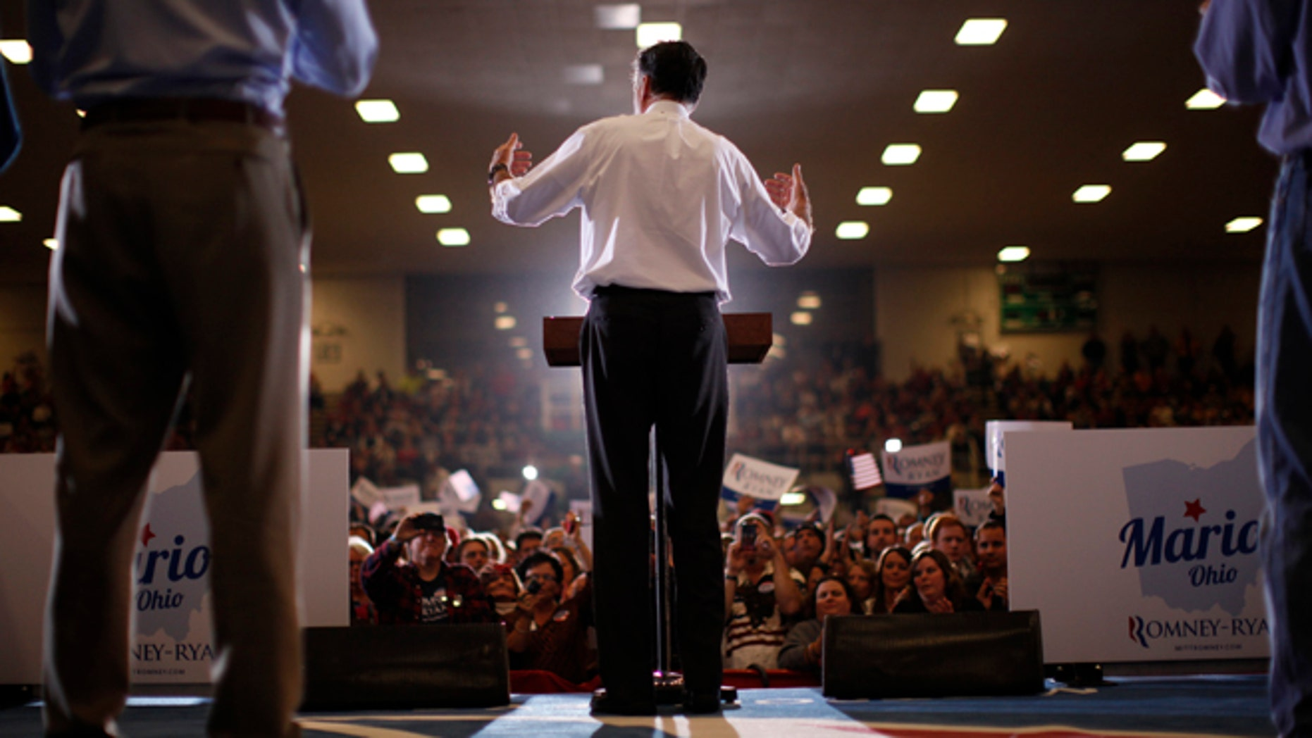 Republican presidential candidate and former Massachusetts Gov. Mitt Romney campaigns at the Veterans Memorial Coliseum, Marion County Fairgrounds, in Marion, Ohio, Sunday, Oct. 28, 2012. (AP Photo/Charles Dharapak)