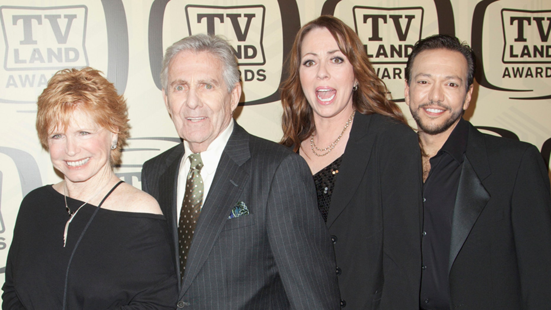 Actors Bonnie Franklin (L to R), Pat Harrington Jr, Mackenzie Phillips and Glenn Scarpelli arrive for the 10th Annual TV Land Awards at the Lexington Avenue Armory in New York April 14, 2012.